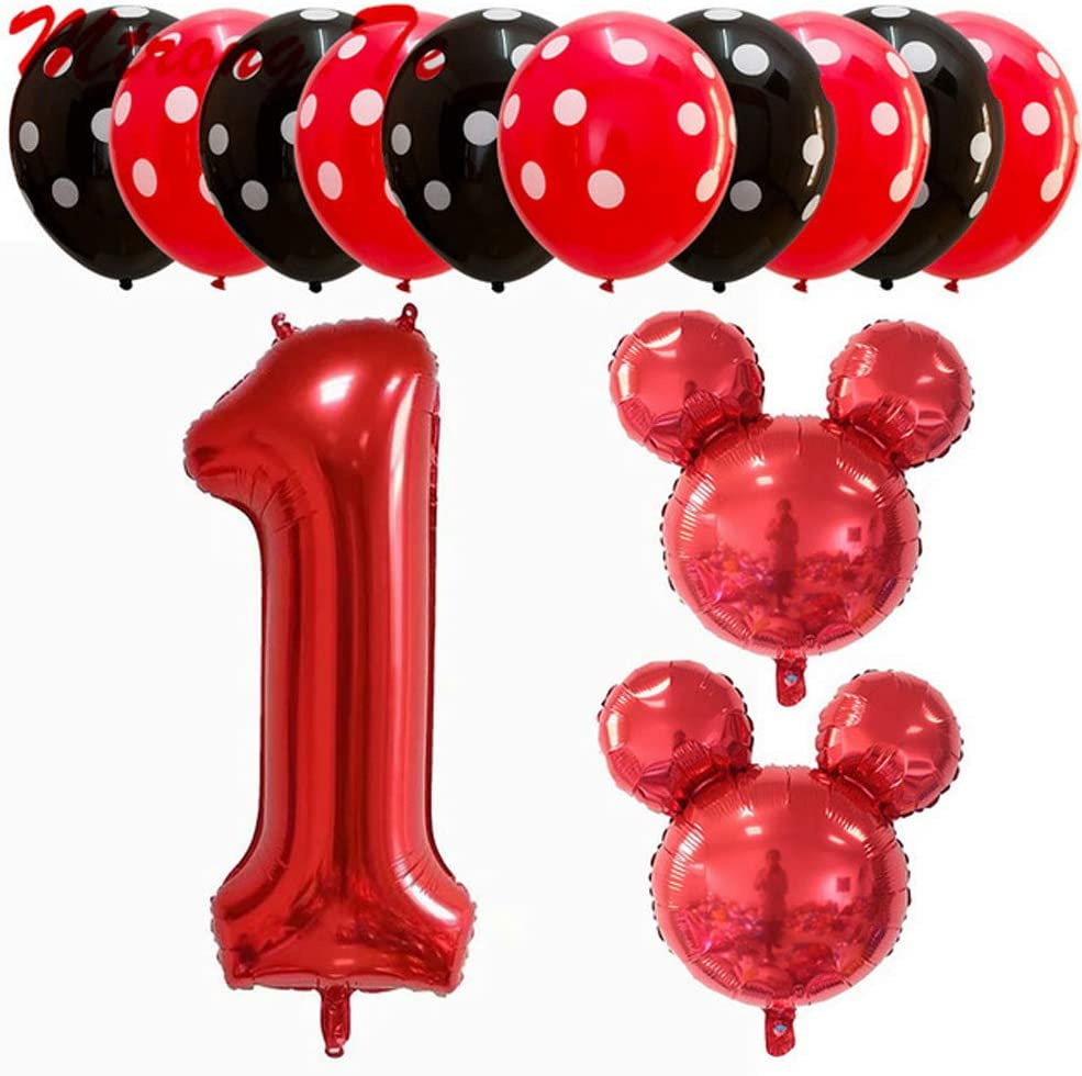 Hongkai Mouse 1st Birthday Girl Decorations Girls First Decor Party Supplies Set Princess Red Black One Confetti foil latex Balloons Happy Birthday Banner Number1 Foil Balloons