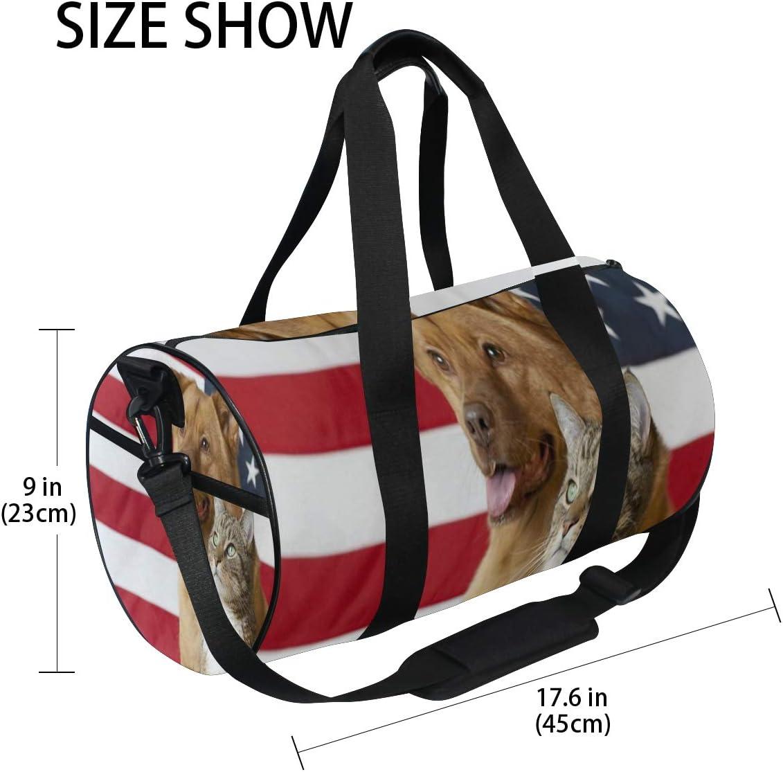 Gym Bag Cat And Dog American Flag Women Canvas Duffel Bag Cute Sports Bag for Girls