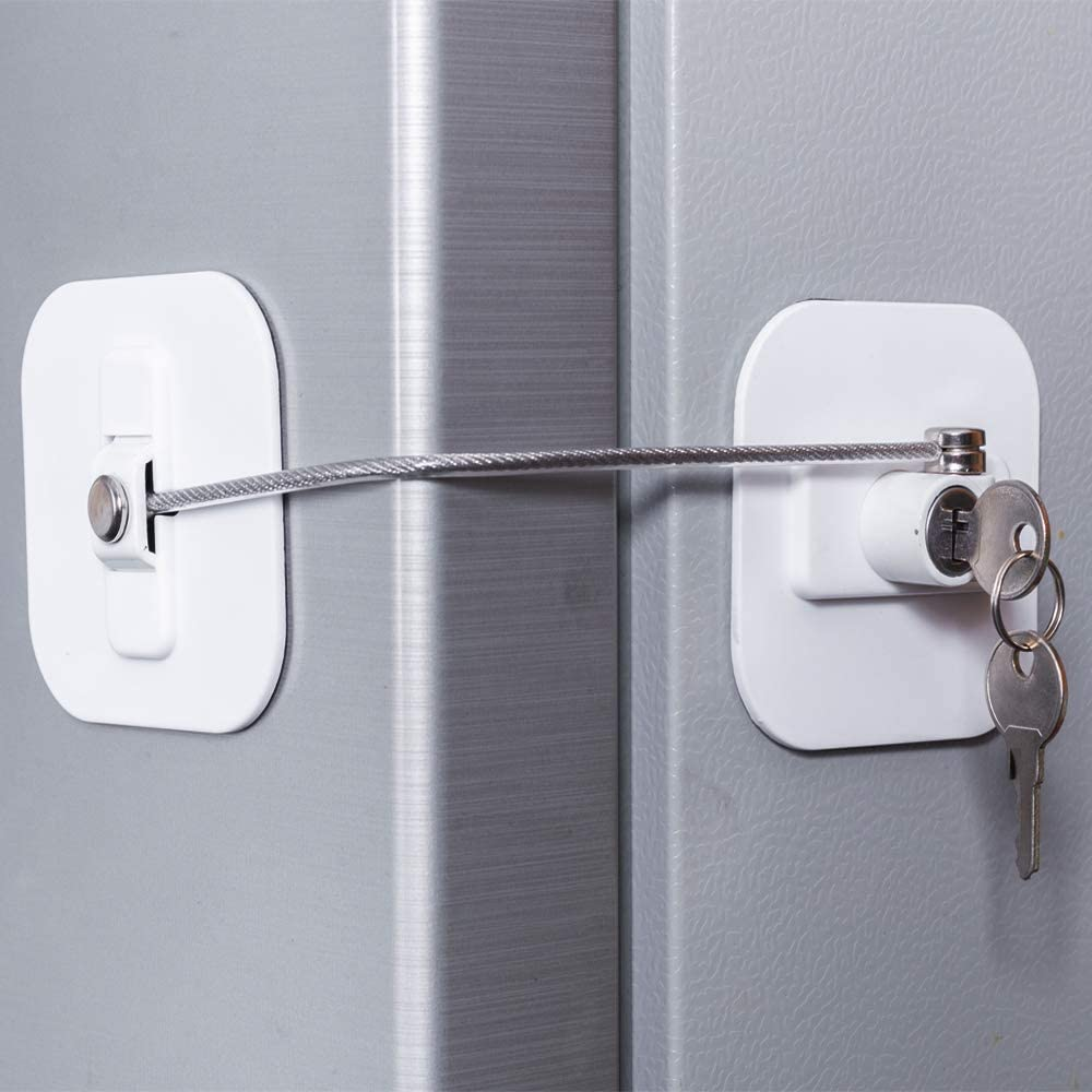 SODIAL Cerradura Refrigerador Congelador Cerradura con Llave Seguridad para Ni?Os Bloqueo el Refrigerador y Gabinete-1 Pieza