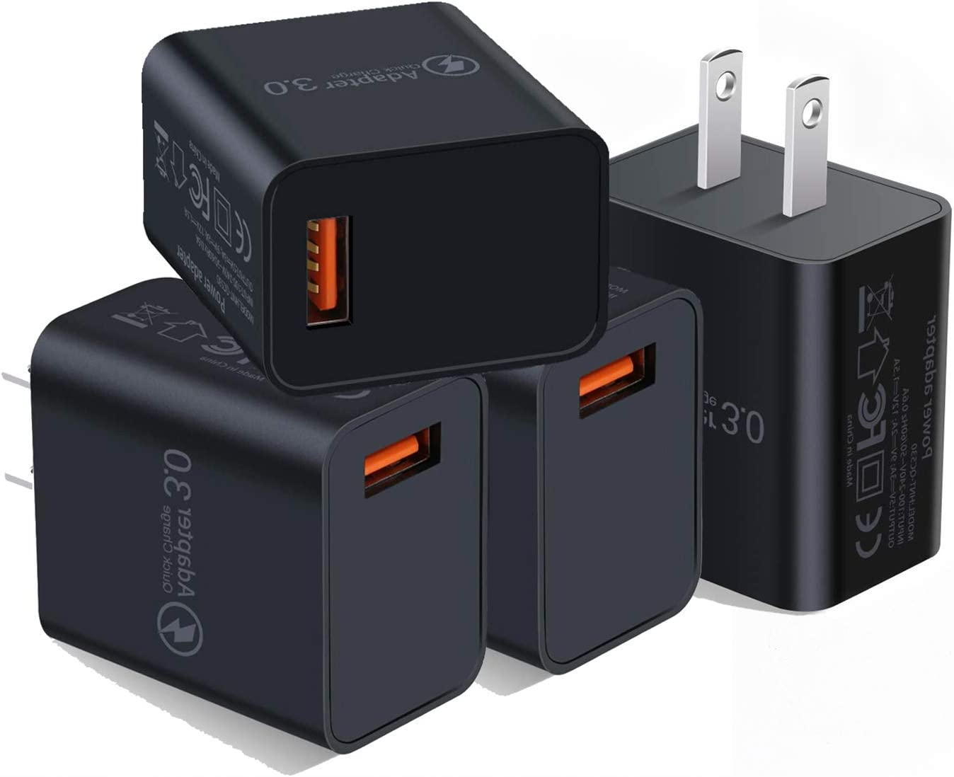 Quick Charge 3.0 Wall Charger, 4-Pack 18W QC 3.0 USB Charger Adapter Fast Charging Block Compatible Wireless Charger Compatible with Samsung Galaxy S10 S9 S8 Plus S7 S6 Edge Note 9, LG, Kindle, Tablet