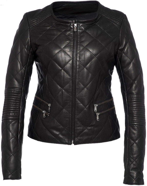Koza Leathers Womens Lambskin Leather Biker Jacket KN182