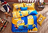 CASA 100% Cotton Kids Bedding Set Boys Minions the First Duvet cover and Pillow cases and Fitted sheet,Boys,4 Pieces,Queen