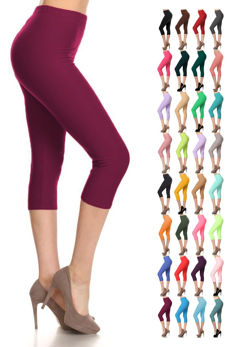 Leggings Depot Buttery Soft Basic Solid 36+ Colors Women's Capri Leggings