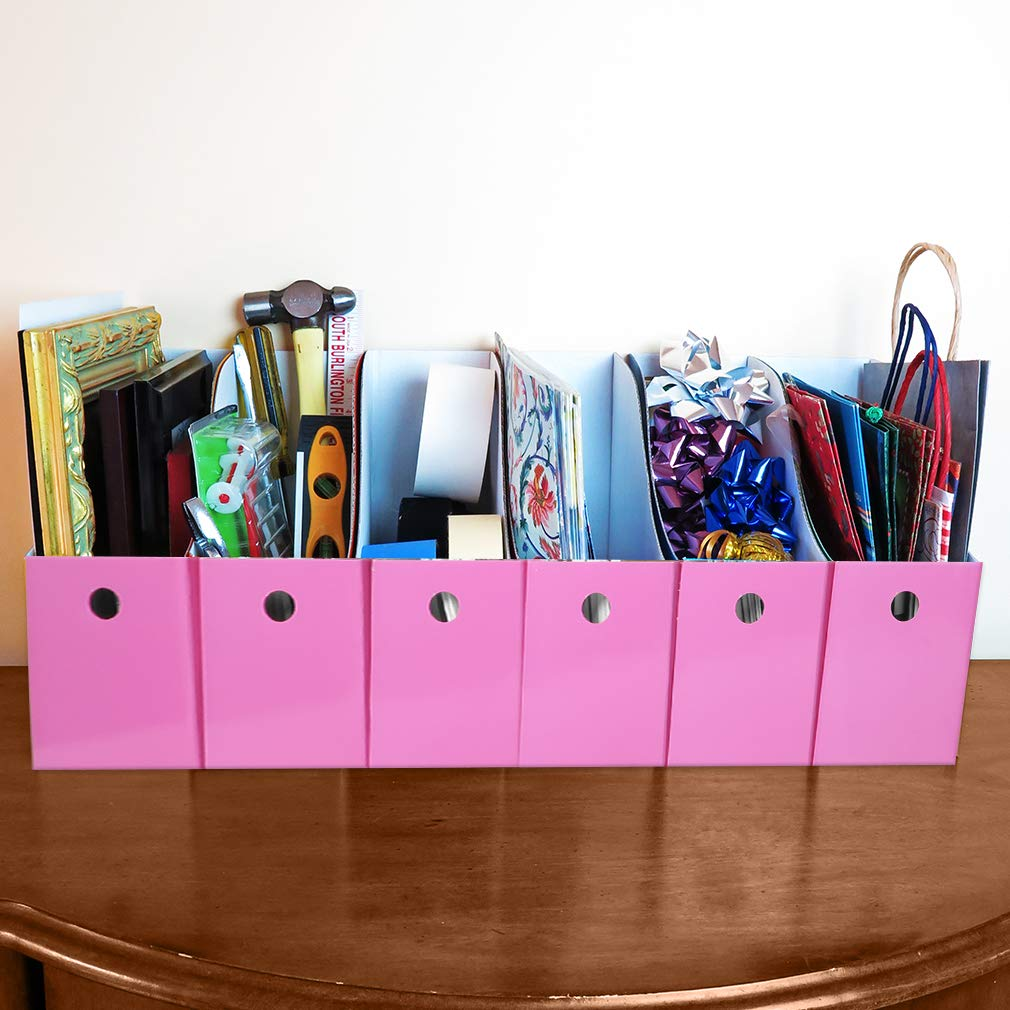 Evelots Set of 6 Magazine File Holders Desk Organizer, File Storage with Labels, Pink by Evelots (Image #3)