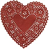 School Smart Heart Shaped Paper Lace Doilies - 4 inch - Pack of 100 - Red