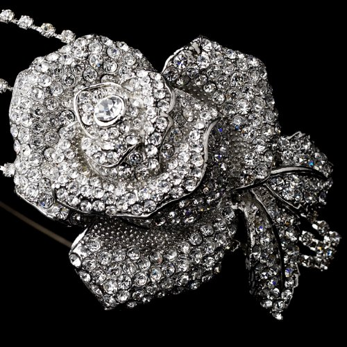 Antique Silver Clear Flower Side Accented Headband