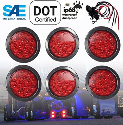 "6 Truck Trailer RED Lens 4"" Round LED Stop Turn Tail Light Includes Light Grommet Plug"