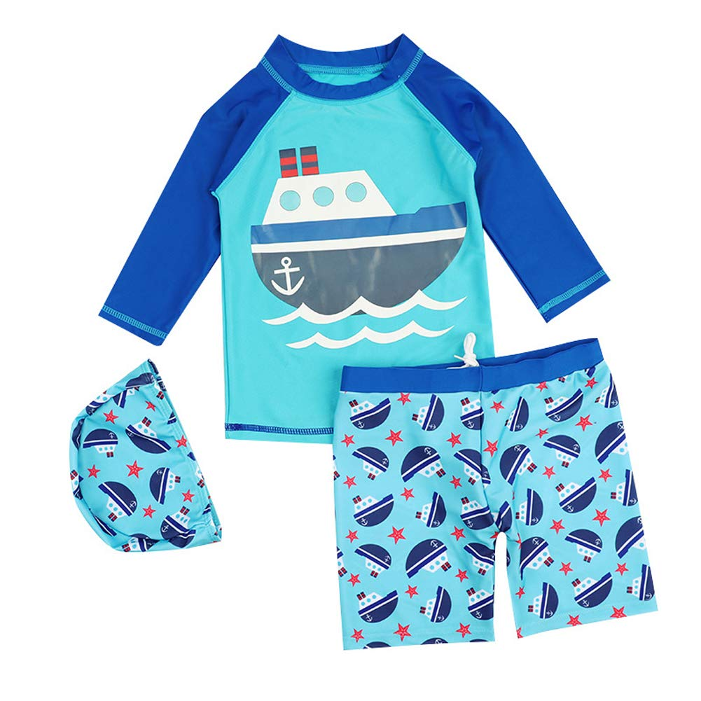 Baby Boys Two Piece Rash Guard Swimsuits Kids Long Sleeve Sunsuit Swimwear Sets with Hat