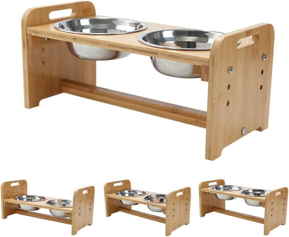 FOREYY Adjustable Raised Pet Stand for Cats and Dogs with 4 Bowls, Bamboo Elevated Dog Cat Food and Water Bowls Stand Feeder with 4 Stainless Steel Bowls and Anti Slip Feet