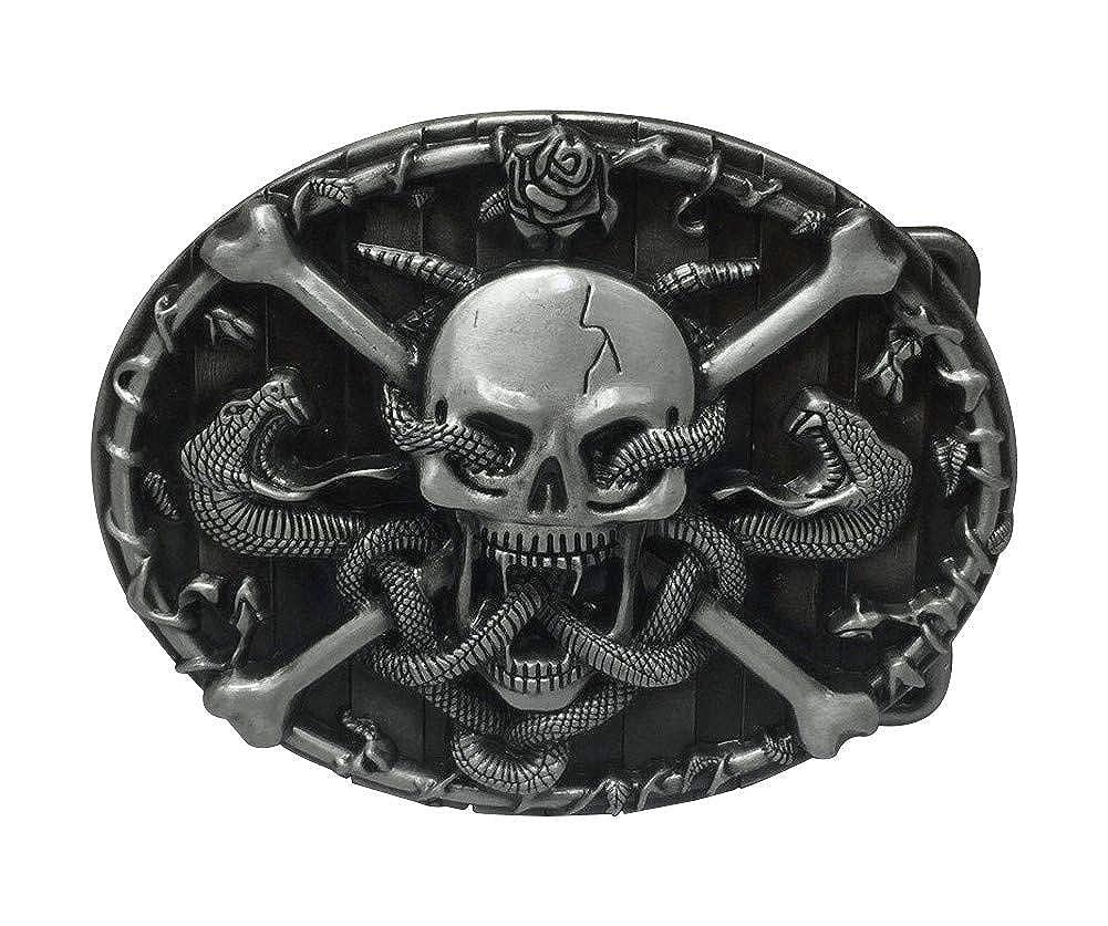 Generico fibbia per cintura a serpente e teschio pirata.