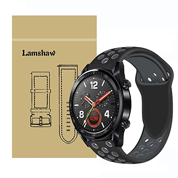 for Huawei Watch GT Band, Lamshaw Silicone Sport Band with Ventilation Holes Replacement Straps for Huawei Watch GT Watch (Black&Gray)