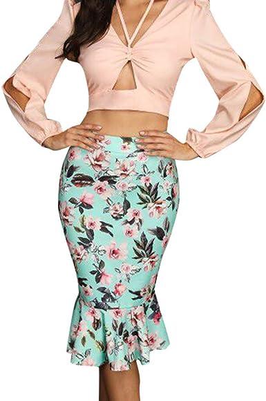 beautyjourney Falda lápiz Sirena para Mujer Falda Casual de ...