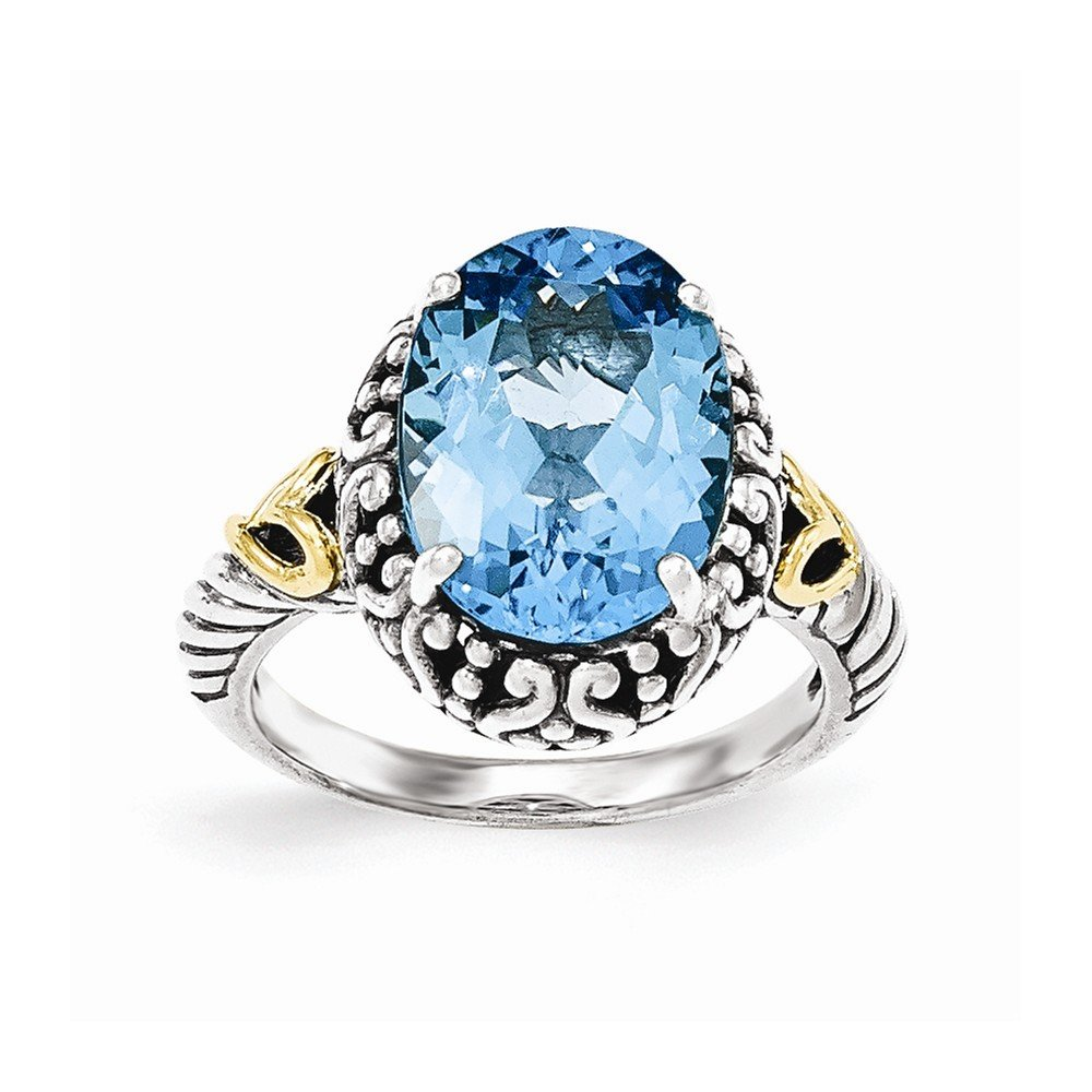 Sterling Silver with 14ky Lt Swiss Blue Topaz Oval Ring