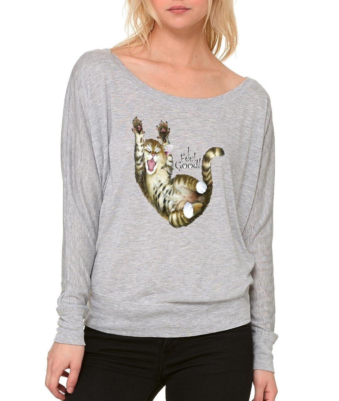 I Feel Cute Super Cute Cat Kitten Long-Sleeve Crazy Cat Club Flowy Shirt