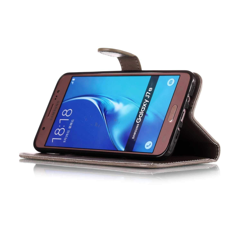 Galaxy J7 2016 H/ülle Geldb/örse Schutzh/ülle f/ür Samsung Galaxy J7 2016 The Grafu/® PU Leder Handyh/ülle mit Kreditkartenfach und Frei Hartglas Displayschutz Grau #1