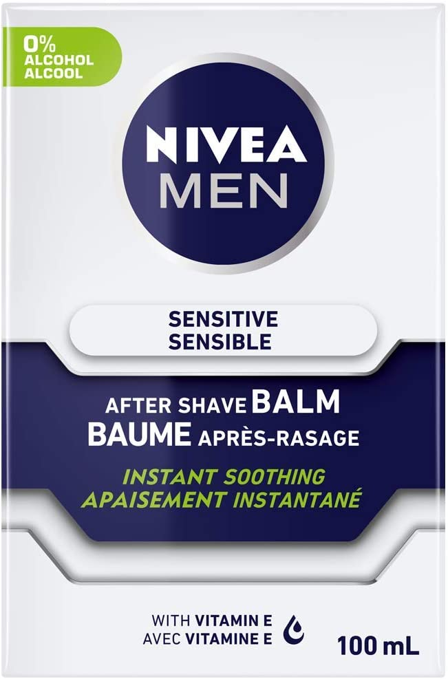 NIVEA FOR MEN Sensitive Post Shave Balm 3.30 oz (Pack of 4)
