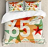 65th Birthday Duvet Cover Set King Size by Ambesonne, Happy Birthday in Languages French Italian Worldwide Universal Celebration, Decorative 3 Piece Bedding Set with 2 Pillow Shams, Multicolor