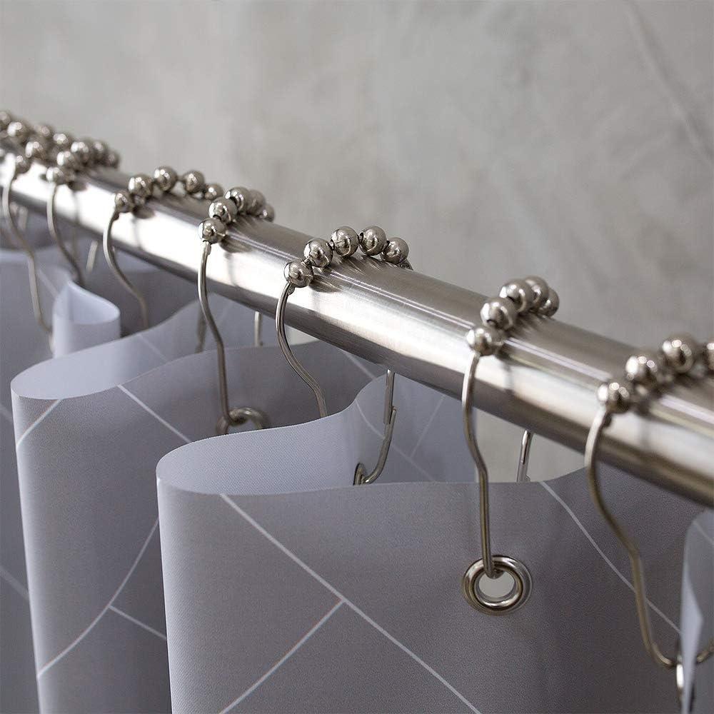 Duschvorhangstange ohne Bohren aus Edelstahl 150-260 cm ausziehbar Gardinenstange oder Kleiderstange im Badezimmer rutschfest als Duschstange Teleskopstange durch Drehen verstellbar Schlafzimmer