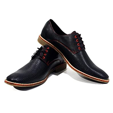 Modello Belpasso - Handmade Italian Mens Black Oxfords Dress Shoes - Cowhide Embossed Leather - Lace-Up