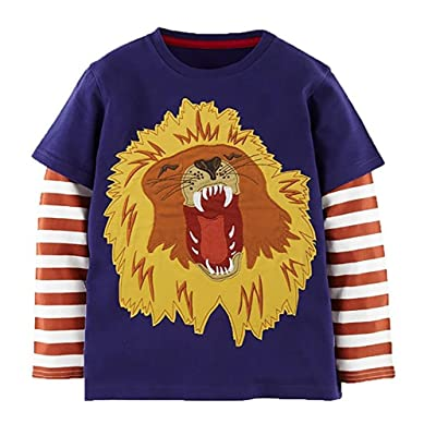 Endymion Meow Little Boys Cotton Clothing Long Sleeves T-Shirt Lion Purple Size 1-6T