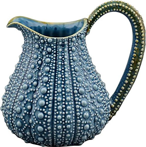 Blue Sky Ceramic Urchin Pitcher, 10'' x 7.5'' x 9'', Blue