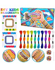 Moff DIY Colorful Ropes Beads for Jewellery Bracelet Making Kit for Girls Kids Friendship Bracelet Kit with 10 Colors of Colored Cotton Thread, A Small Box of Beads, 2 Woven Board etc