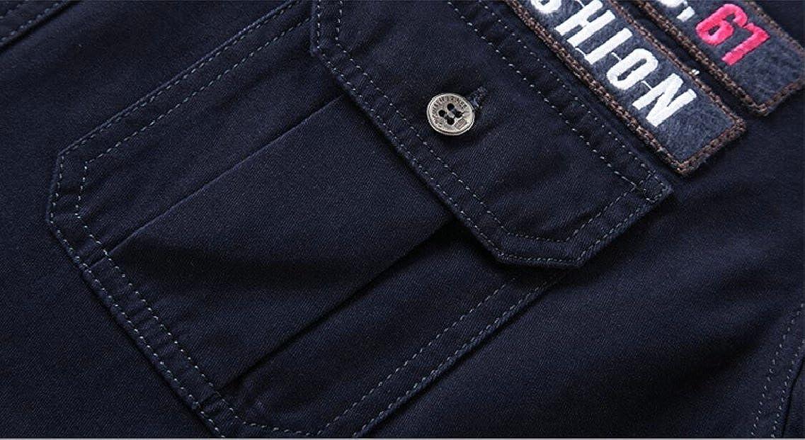 HTOOHTOOH Mens Military Style Cargo Tactical Button Down Short Sleeve Shirt