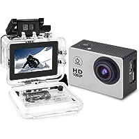 Cámara de video de acción YUNTAB, Full-HD, 1080P, pantalla LCD de 2.0 pulgadas, lente de video e imagen de 120 grados de ancho, impermeable hasta 30 m, accesorios múltiples (plateado)