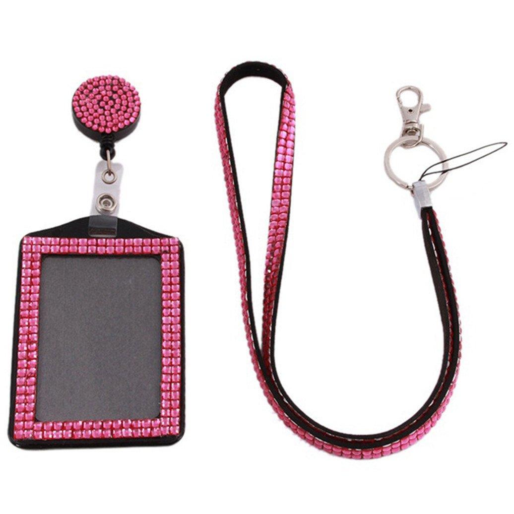 entrambi decorati con strass free size purple in resina colorata decorata e con cordoncino Porta badge o cartellino di riconoscimento