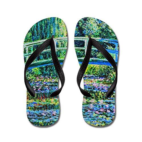 Cafepress Monet - Water Lily Pond - Chanclas, Sandalias Thong Divertidas, Sandalias De Playa Negras