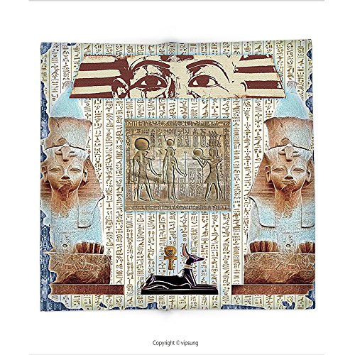 Custom printed Throw Blanket with Egypt Decor Traditional Hieroglyph Backdrop with Mummy Pyramids and Bastet Collage Art Taupe Navy Super soft and Cozy Fleece (Halloween Mummy Pigs Blanket Recipe)