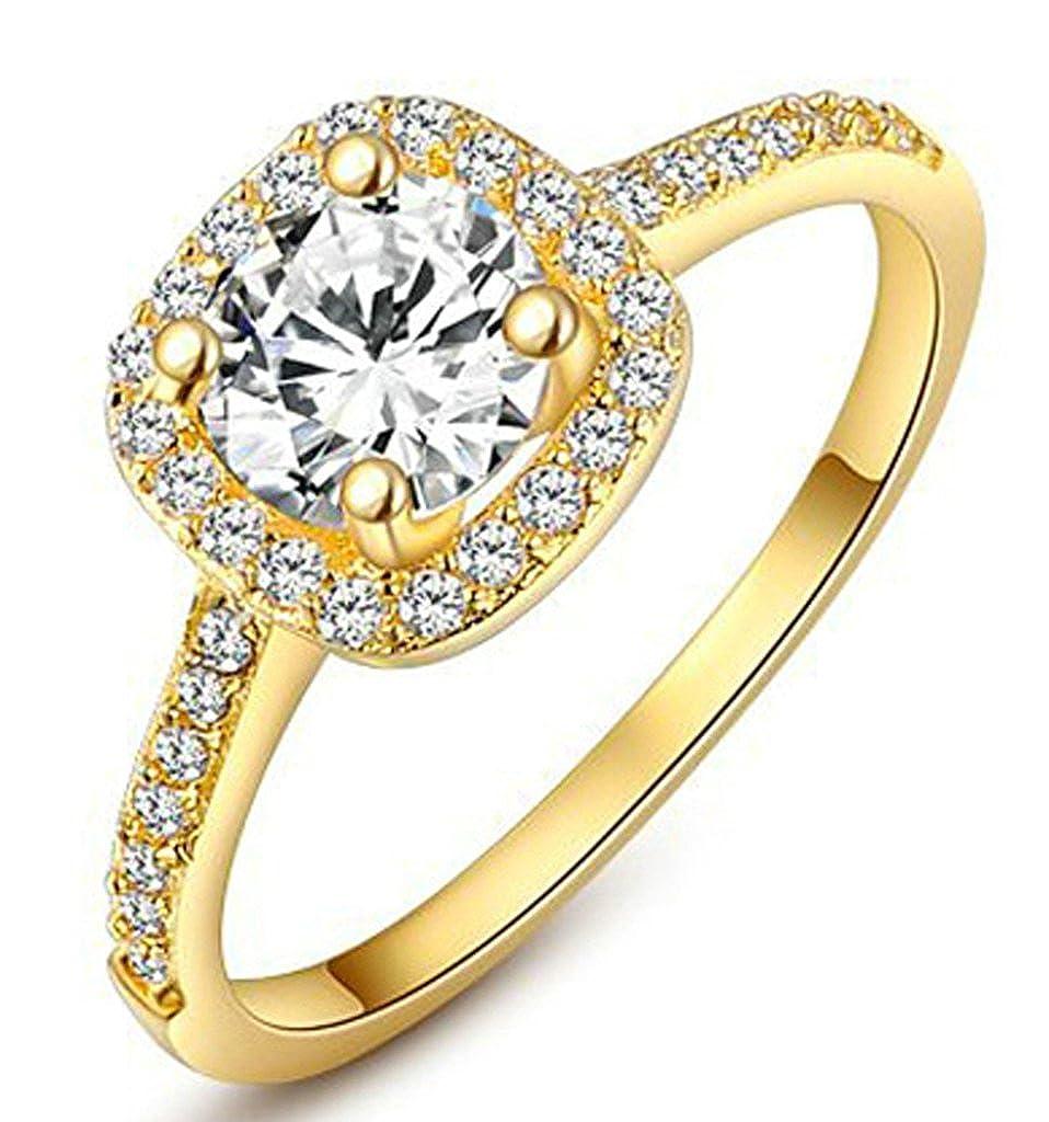 Amazon Epinki 18k Gold Plated Rings Women's Wedding Bands Zircon Rounded Square Cubic Zirconia Jewelry: Rounded Square Wedding Band At Reisefeber.org