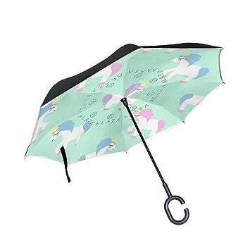 TIZORAX Unicornio de Dibujos Animados Verde Menta Lunares invertidos Doble Capa Recto Paraguas Interior Reversible con
