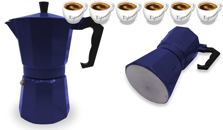 Italienischer Espressokocher für 6 Tassen, Blau