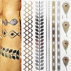 7pcs Partido metálica impermeable del tatuaje completo Virgen del ...