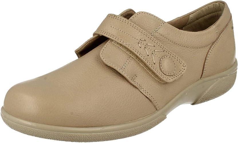 Ladies Easy B Healey Velcro Shoes Beige