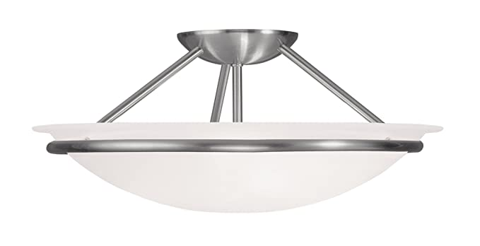 Livex Lighting 4824-91 Newburgh 3-Light Ceiling Mount, Brushed Nickel