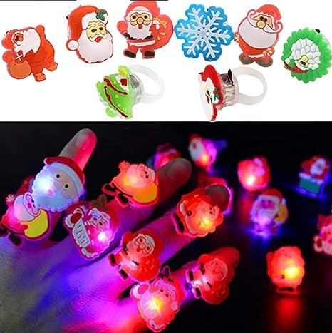 Liuer 50PCS Luminosas para Fiestas Luminosas Anillos Ajustables Cumpleaños Infantiles Niña Super brillante LED dedo luces favor de partido para ...