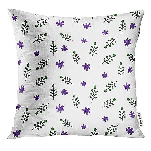 Cojín Plano Floral con Hojas Verdes y Flores violetas Estilo ...