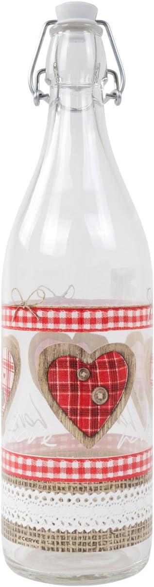 Botella de cristal con cierre de clip, 1 litro, diseño de amor