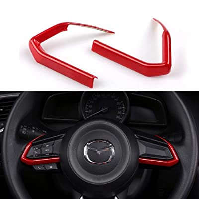 Duoles 2 PCS Red ABS Car Styling Auto Accessories Interior Decoration Steering Wheel Buttons Sequins Cover Trim for Mazda 3 6 CX-4 CX-5 CX-9: Automotive