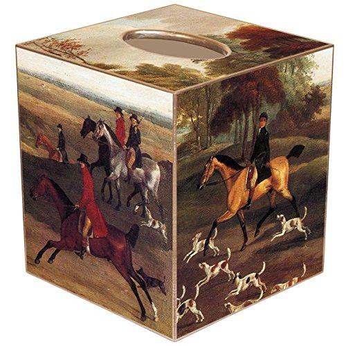 Fox Hunt Scene - Fox Hunt Scene Paper Mache Tissue Box Cover