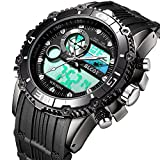 BLCOT Big Face Sports Watch Men Waterproof Multifunction Watch Wrist Digital Watches Black Silicone Band