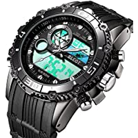 BLCOT Men`s Big Face Sports Watches for men,Blcot Waterproof Multifunction Wrist Digital Watch in Black Silicone Strap