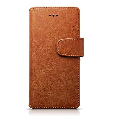 iPhone 8 / iPhone 7 Funda de Cuero con compartimento para billetera- Coñac