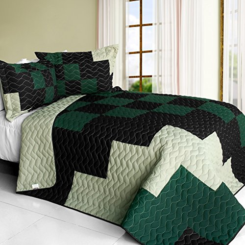 [Oxygen] 3PC Vermicelli - Quilted Patchwork Quilt Set (Full/Queen Size)