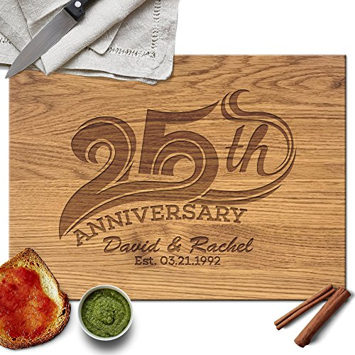 Froolu 25th Anniversary personalized cutting board for Custom Name Engraved Friends Gifts