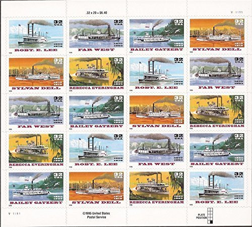 1996 RIVERBOATS #3095a Pane of 20 x 32 cents US Postage Stamps