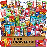 CraveBox - Care Package (50 Count) Snack Box - Variety Assortment Bundle of Snacks, Candy, Chips, Chocolate, Cookies, Granola Bars, for Students, Office, Midterms, Spring Final Exams, Easter Sunday