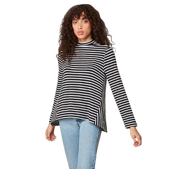 IMJONO Moda Mujer Raya Manga Larga Tops Casual Camiseta Top Blusa (Negro, S)